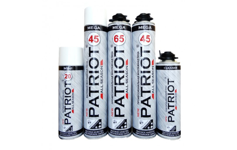 Patriot - всесезонная монтажная пена и очиститель